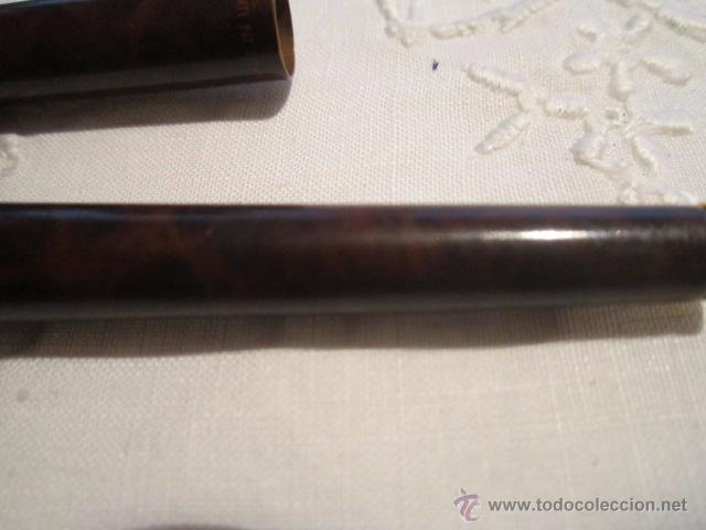 Plumas estilográficas antiguas: Pluma estilográfica Parker cla cuerpo lacado en marrón con clip dorado, más dos recambios. 13,5 cms. - Foto 7 - 53704883