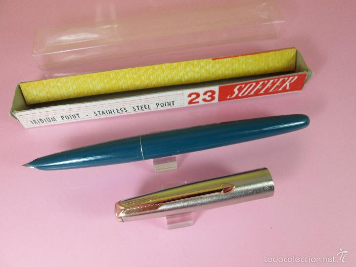 Plumas estilográficas antiguas: N640-PLUMA ESTILOGRAFICA-SOFFER 23-ESPAÑA-VERDE+CROMO-CLIP DORADO-NOS-CAJA-NUEVA - Foto 10 - 39198242
