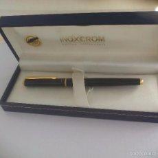 Plumas estilográficas antiguas: MAGNIFICA PLUMA ESTILOGRÁFICA INOXCROM. GOLD ELECTROPLATED. CON ESTUCHE ORIGINAL.. Lote 57632763