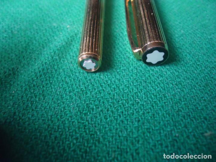 Plumas estilográficas antiguas: Juego Montblanc Pluma oro 14ct 585 ,Roller y Boligrafo. - Foto 5 - 176111239