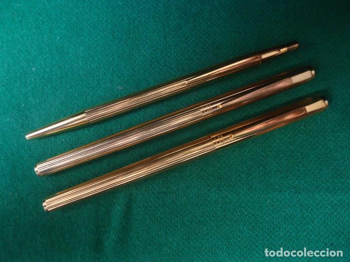 Plumas estilográficas antiguas: Juego Montblanc Pluma oro 14ct 585 ,Roller y Boligrafo. - Foto 25 - 176111239