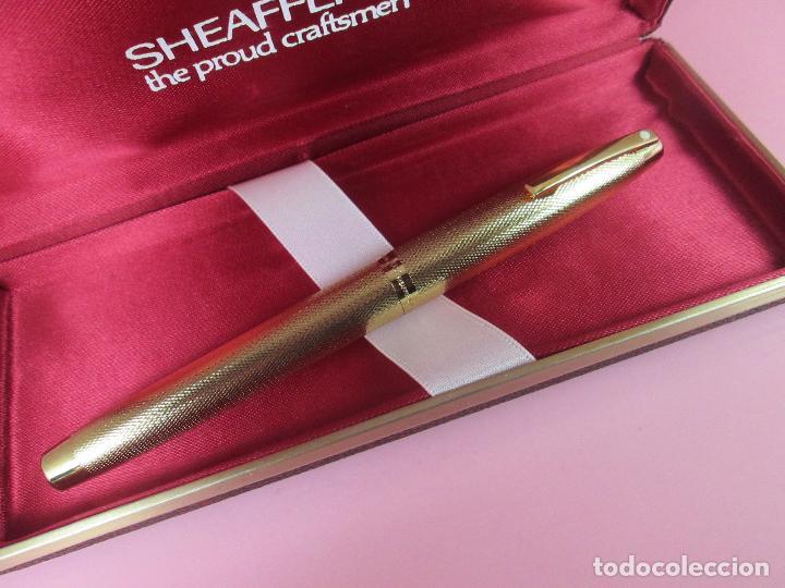 Plumas estilográficas antiguas: 7479-pluma estilografica-sheaffer 827 barleycorn-gold plated-plumín inlaid oro.F-chassing llamado - Foto 4 - 69432605