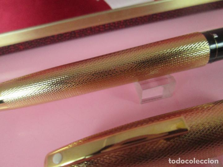 Plumas estilográficas antiguas: 7479-pluma estilografica-sheaffer 827 barleycorn-gold plated-plumín inlaid oro.F-chassing llamado - Foto 7 - 69432605