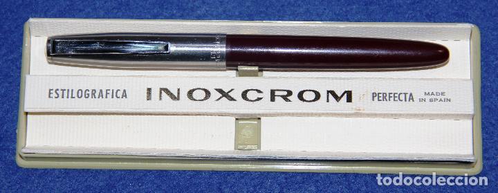 ANTIGUA PLUMA ESTILOGRAFICA INOXCROM 55 BURDEOS * (Plumas Estilográficas, Bolígrafos y Plumillas - Plumas)