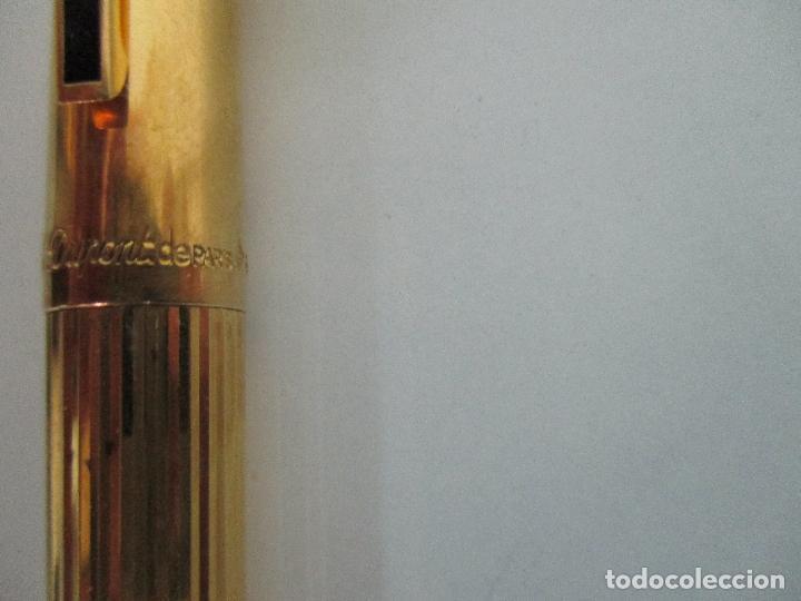 Plumas estilográficas antiguas: Pluma Estilográfica - S.T. Dupont de París - Cuerpo de Plata 925 - Bañada en Oro - Plumín Oro 18 ct - Foto 5 - 79724669