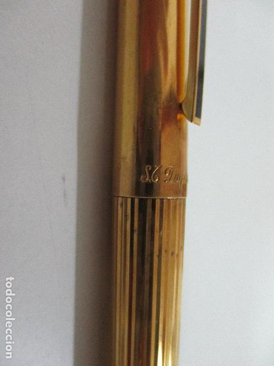 Plumas estilográficas antiguas: Pluma Estilográfica - S.T. Dupont de París - Cuerpo de Plata 925 - Bañada en Oro - Plumín Oro 18 ct - Foto 7 - 79724669