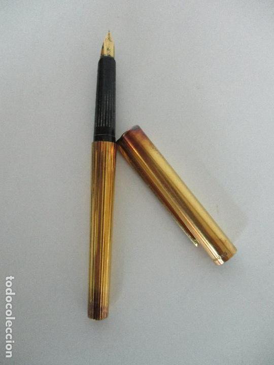 Plumas estilográficas antiguas: Pluma Estilográfica - S.T. Dupont de París - Cuerpo de Plata 925 - Bañada en Oro - Plumín Oro 18 ct - Foto 12 - 79724669