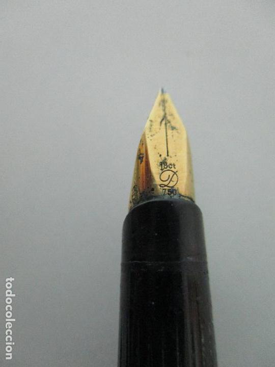 Plumas estilográficas antiguas: Pluma Estilográfica - S.T. Dupont de París - Cuerpo de Plata 925 - Bañada en Oro - Plumín Oro 18 ct - Foto 15 - 79724669