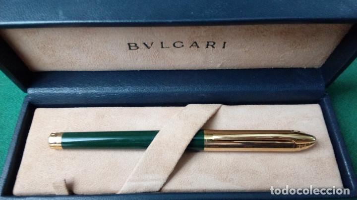 BVLGARI PLAQUE ORO, LACA CHINA VERDE, PLUMILLA M ORO SOLIDO 18K-750- BULGARI (Plumas Estilográficas, Bolígrafos y Plumillas - Plumas)