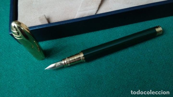Plumas estilográficas antiguas: Bvlgari plaque oro, laca china verde, plumilla M oro solido 18k-750- Bulgari - Foto 3 - 79907745