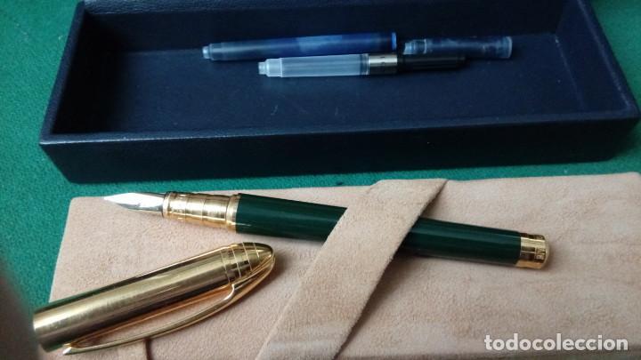 Plumas estilográficas antiguas: Bvlgari plaque oro, laca china verde, plumilla M oro solido 18k-750- Bulgari - Foto 11 - 79907745