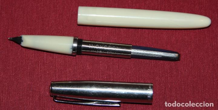 Plumas estilográficas antiguas: ANTIGUA PLUMA ESTILOGRAFICA INOXCROM 55 BLANCA - Foto 4 - 86265572