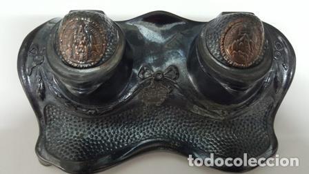 Plumas estilográficas antiguas: ANTIGUA ESCRIBANIA DOBLE TINTERO - RECUERDO DE MONTSERRAT BARCELONA ESPAÑA - - Foto 12 - 94666043