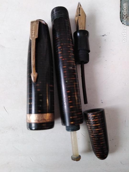 Plumas estilográficas antiguas: PLUMA ESTILOGRAFICA PARKER VACUMATIC CLIP CANADA PLUMIN ORO 14 K - Foto 7 - 99277411