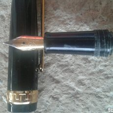Plumas estilográficas antiguas: PLUMA ESTILOGRÁFICA NEGRA CON DETALLES EN DORADO. Lote 102852543