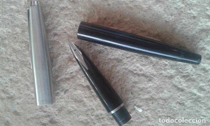 Plumas estilográficas antiguas: Pluma estilográfica negra-plata Inoxcrom - Foto 6 - 103927411