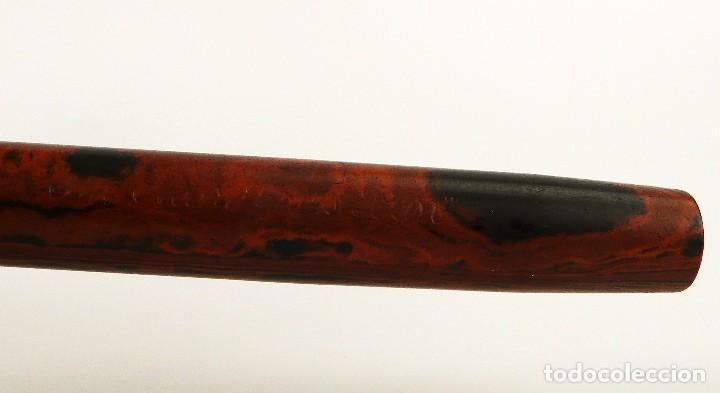 Plumas estilográficas antiguas: The Montjoys Pen,España-pluma estilográfica baby 10 cm ebonita wood grain plumín de oro 14kt - Foto 6 - 109357595