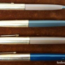 Plumas estilográficas antiguas: COLECCIÓN DE 3 PLUMAS Y UN PORTAMINAS. PARKER. MOD. 51 Y 61. CIRCA 1940. . Lote 112328783