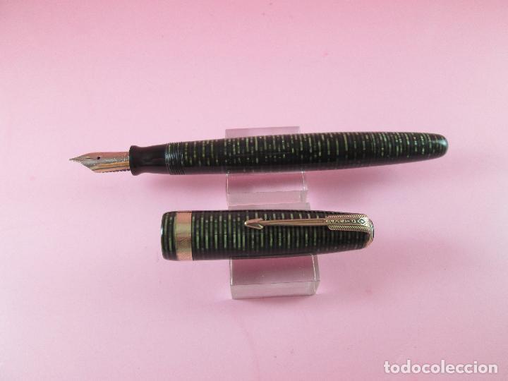 Plumas estilográficas antiguas: pluma estilográfica-parker vacumatic emerald green senior-USA-excelente estado-plumín oro parker - Foto 16 - 114629267