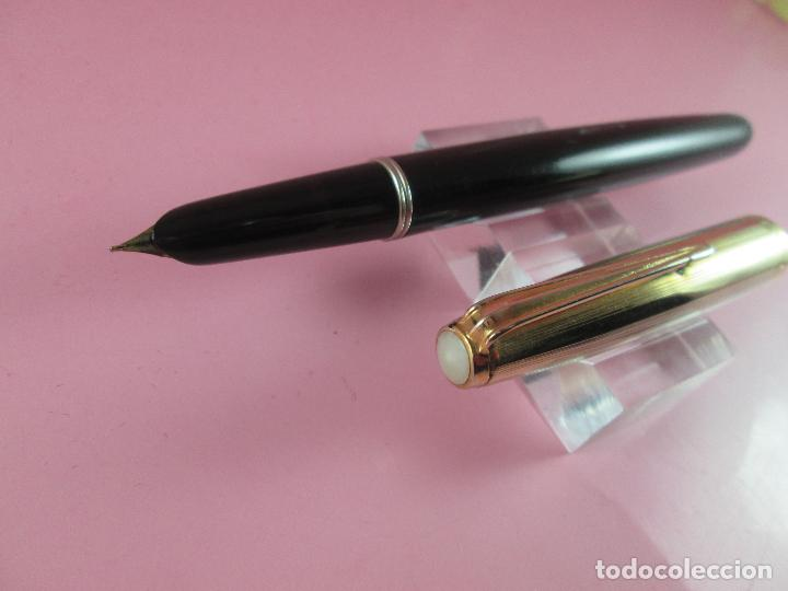 Plumas estilográficas antiguas: 1095-pluma estilográfica-hubber-negra+dorados-convertidor aerométrico fijo-ver fotos - Foto 11 - 115336959