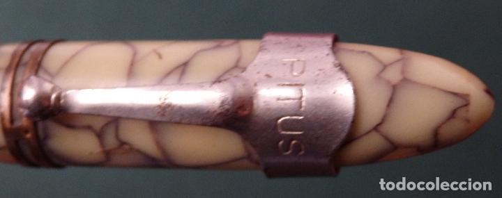 Plumas estilográficas antiguas: PLUMA EXTILOGRAFICA CELULOIDE MADE IN AUSTRIA CON PLUMIN INOXCROM GOLD PLATED 18 Kts numero 4 - Foto 2 - 116769899