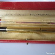 Plumas estilográficas antiguas: ANTIGUA PLUMA COLUMBUS ORO 18KR SAFETY, RETRACTIL NIB ORO 14K. Lote 117569807