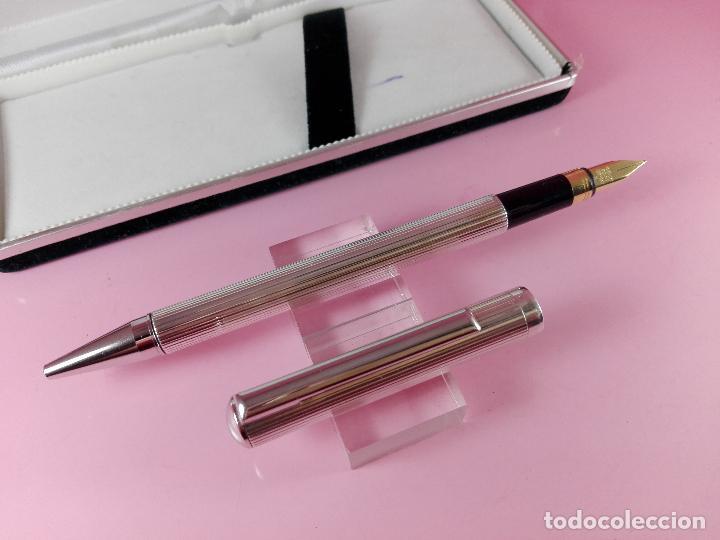 Plumas estilográficas antiguas: 1006/combo-ferrari-plata 925-pluma y bolígrafo en 1-caja de las fotos-excelente-pesado-precioso - Foto 2 - 119270095