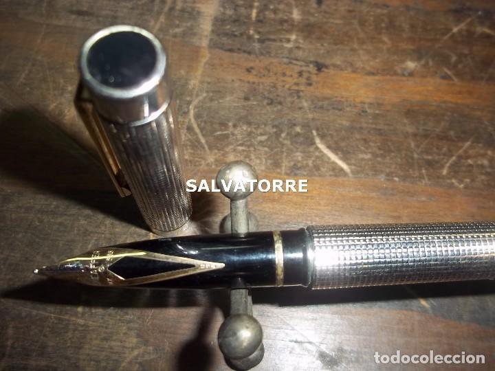 Plumas estilográficas antiguas: PLUMA ESTILOGRÄFICA SHEAFFER PLATA PLUMIN ORO.Sheaffer Targa Sterling Silver. - Foto 7 - 121562547