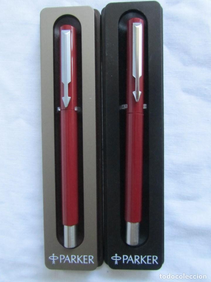 Plumas estilográficas antiguas: Juego de pluma estilográfica y bolígrafo Parker Rojo - Foto 2 - 125228743