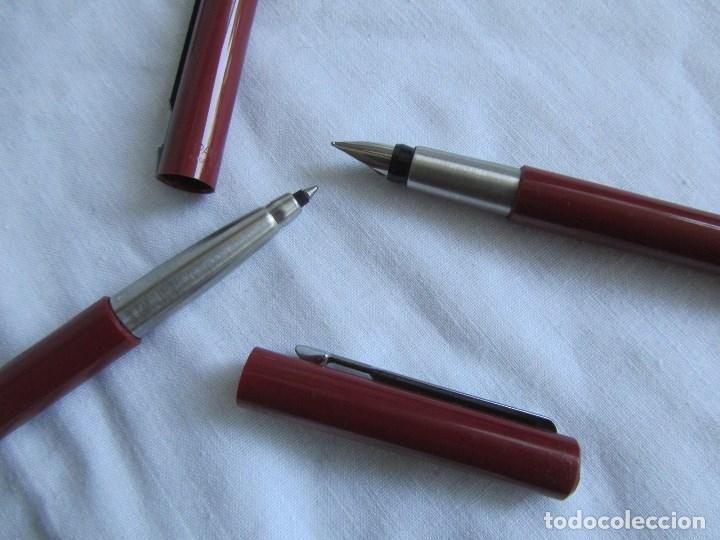 Plumas estilográficas antiguas: Juego de pluma estilográfica y bolígrafo Parker Rojo - Foto 8 - 125228743