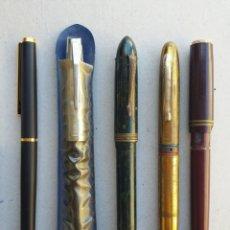 Plumas estilográficas antiguas: LOTE 5 PLUMAS Y BOLÍGRAFOS ANTIGUOS. Lote 133399022