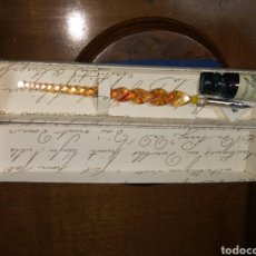 Plumas estilográficas antiguas: PLUMA DE CRISTAL DE MURANO.. Lote 136248546
