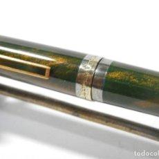 Plumas estilográficas antiguas: PLUMA ESTILOGRAFICA DUPONT, PLATA Y LACA CHINA, PLUMIN ORO 18 K. Lote 136416510