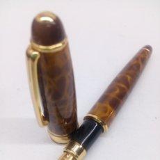 Plumas estilográficas antiguas - Pluma marmolada maron - 136680178