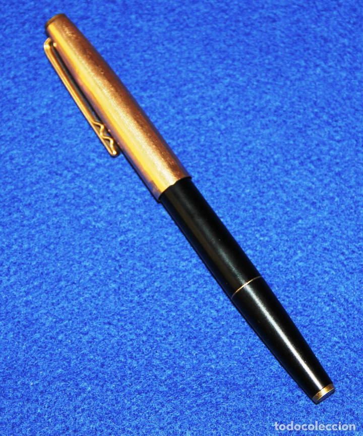 Plumas estilográficas antiguas: ANTIGUA ESTILOGRAFICA SUPER T OLIMPIA 15 CAPUCHON CHAPADO EN ORO - Foto 2 - 137380046