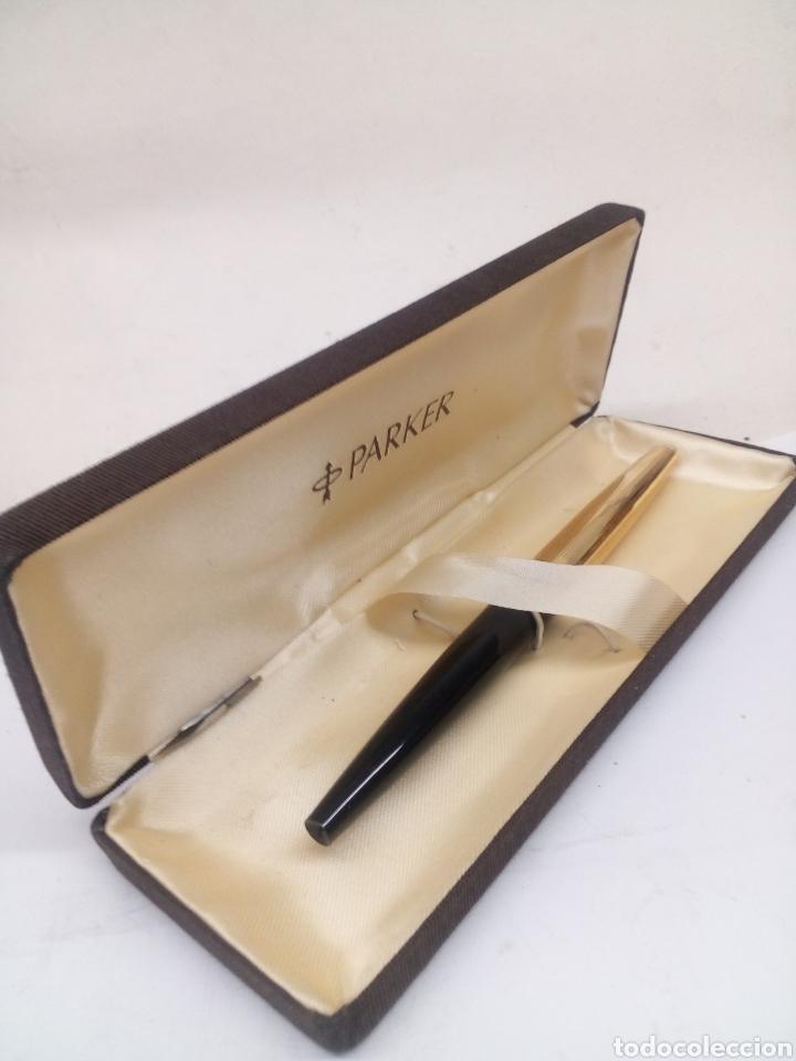 PLUMA PARKER 45 CABUCHON CHAPADO ORO LACADO NEGRO EN SU ESTUCHE NUEVO (Fountain Pens, Ballpoint Pens and Pen Nibs - Fountain Pens)
