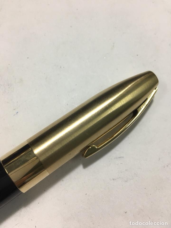 Old Fountain Pens: Pluma Sheaffer Imperial Capuchón chapado oro plumin 18kl F nueva modelo más grande carga pistón - Foto 3 - 142899737