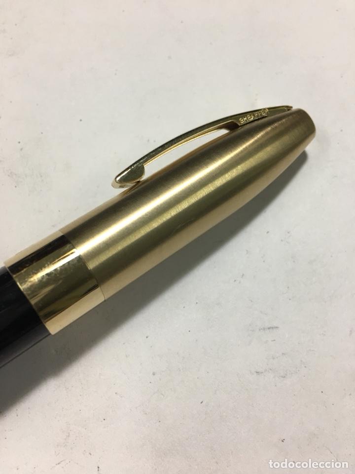 Old Fountain Pens: Pluma Sheaffer Imperial Capuchón chapado oro plumin 18kl F nueva modelo más grande carga pistón - Foto 4 - 142899737