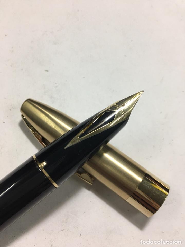 Old Fountain Pens: Pluma Sheaffer Imperial Capuchón chapado oro plumin 18kl F nueva modelo más grande carga pistón - Foto 6 - 142899737