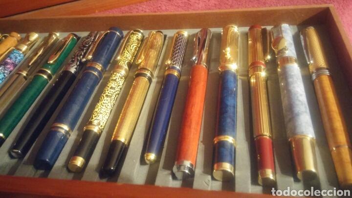Old Fountain Pens: MUEBLE EXPOSITOR DE PLUMAS CON 27 PLUMAS DE COLECCION - Foto 8 - 150839580