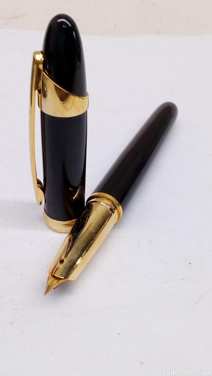 Plumas estilográficas antiguas: Pluma lacado negro gran calidad nuevo - Foto 2 - 150907033