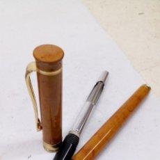 Plumas estilográficas antiguas: PLUMA CUERPO MARMOLADO MARRON. Lote 163822872