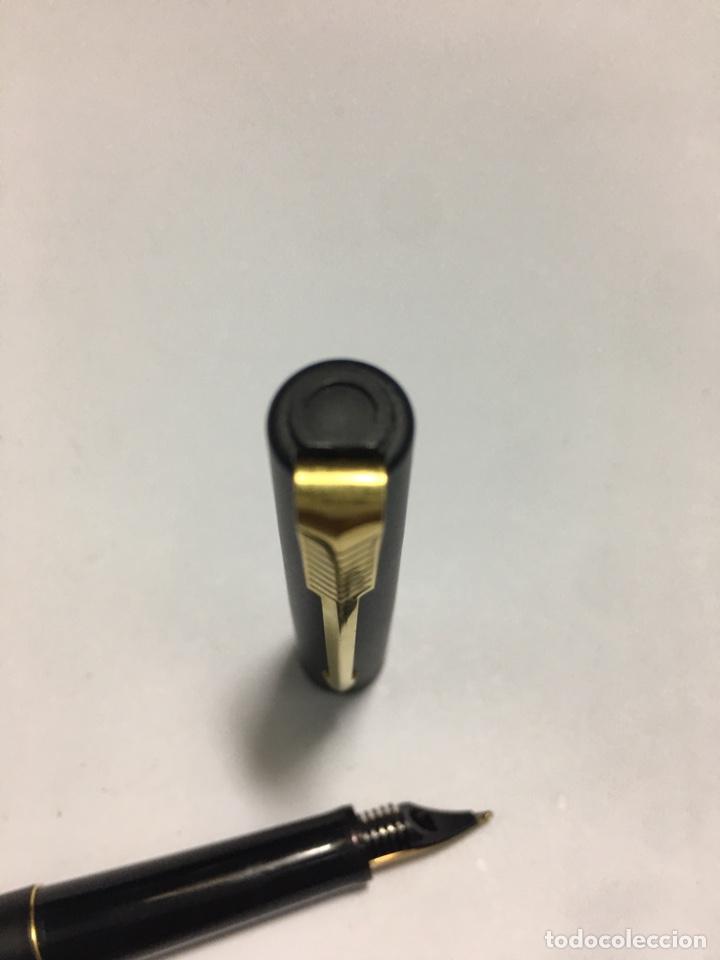 Plumas estilográficas antiguas: Pluma Parker lacado negro y detalles chapados oro como nueva - Foto 5 - 171128610