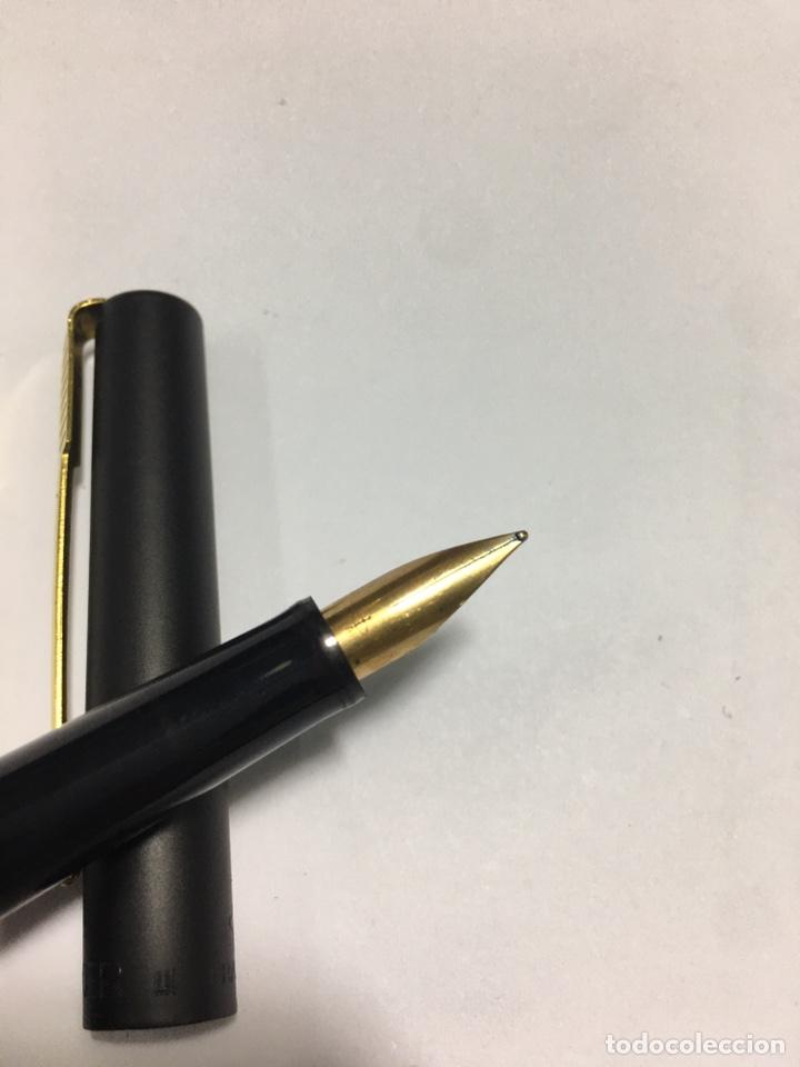 Plumas estilográficas antiguas: Pluma Parker lacado negro y detalles chapados oro como nueva - Foto 6 - 171128610