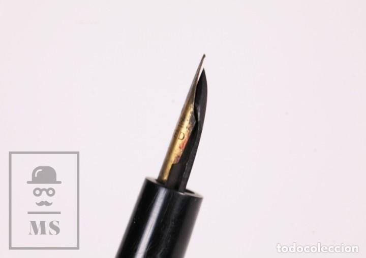 Plumas estilográficas antiguas: Antigua Pluma Estilográfica Waterman Ideal - Personalizada Galdós - Nickel y Ebonita - Foto 8 - 168897048