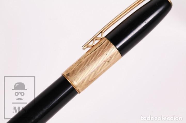 Plumas estilográficas antiguas: Antigua Pluma Estilográfica Super T Modelo 40 - Detalles Dorados, Cuerpo Negro - Foto 4 - 168897940