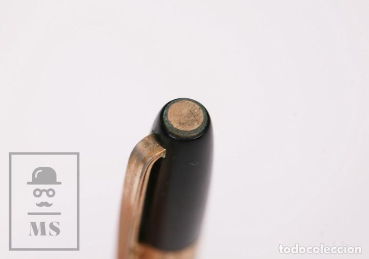 Plumas estilográficas antiguas: Antigua Pluma Estilográfica Super T Modelo 40 - Detalles Dorados, Cuerpo Negro - Foto 11 - 168897940