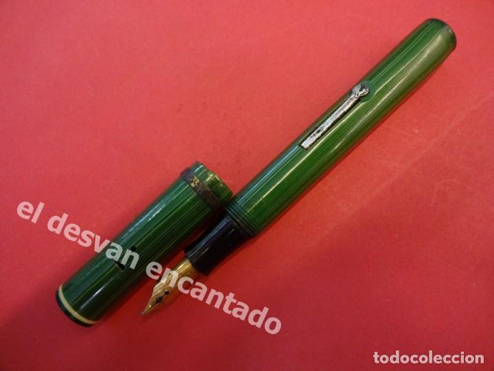 Plumas estilográficas antiguas: Antigua pluma GOLD STARRY a restaurar de color verde - Foto 2 - 168940052