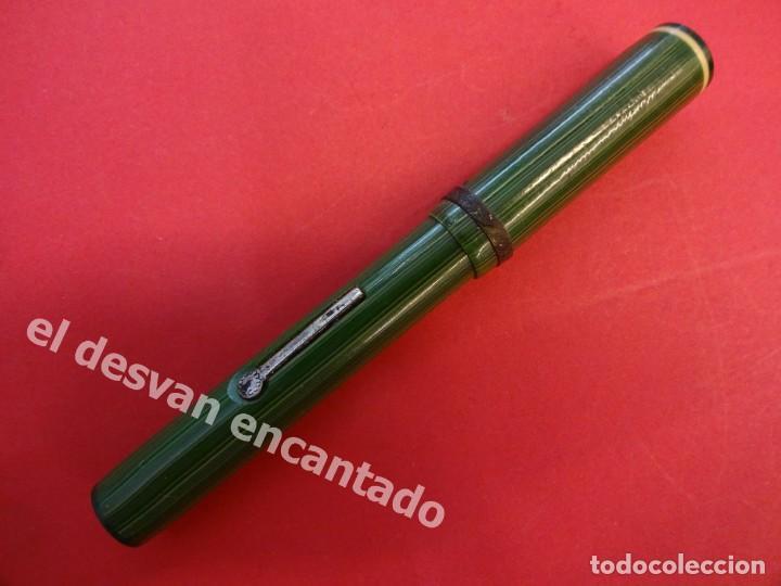 Plumas estilográficas antiguas: Antigua pluma GOLD STARRY a restaurar de color verde - Foto 7 - 168940052