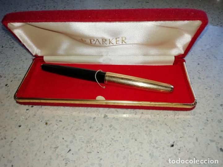 Plumas estilográficas antiguas: Estilográfica Parker 61 con caja original de fieltro negro y oro - Foto 5 - 169720560